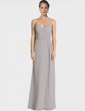 Sheath Spaghetti Straps Sweetheart Floor Length Long Silver Chiffon Jaelyn Bridesmaid Dress for Sale