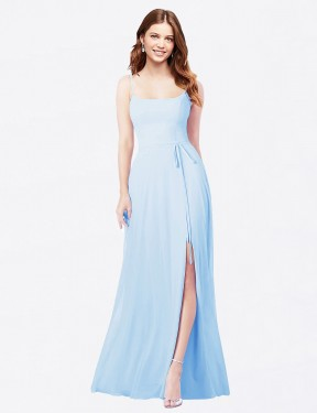 Sheath Square Spaghetti Straps Floor Length Long Light Sky Blue Chiffon Louis Bridesmaid Dress for Sale