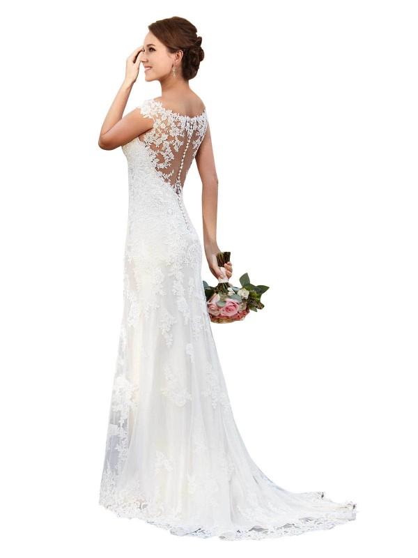 Sheath Sweetheart Chapel Train Long White Lace Presley Wedding Dress for Sale