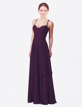 Sheath Sweetheart Floor Length Long Grape Chiffon Janelle Bridesmaid Dress for Sale