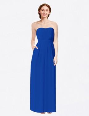 Sheath Sweetheart Floor Length Long Royal Blue Chiffon Scarlett Bridesmaid Dress for Sale
