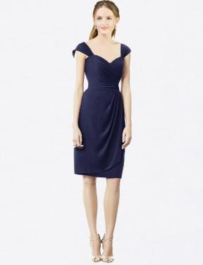 Sheath Sweetheart Knee Length Short Dark Navy Chiffon & Satin Angel Bridesmaid Dress for Sale