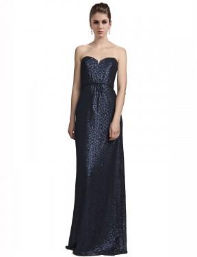 Sheath Sweetheart Strapless Floor Length Long Dark Navy Sequin Lilyana Bridesmaid Dress for Sale