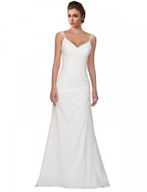 Sheath V-Neck Chapel Train Long Ivory Chiffon Lila Wedding Dress for Sale