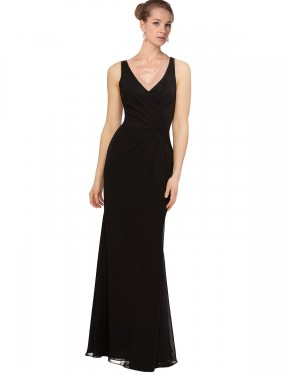 Sheath V-Neck Floor Length Long Black Chiffon Eliza Bridesmaid Dress for Sale