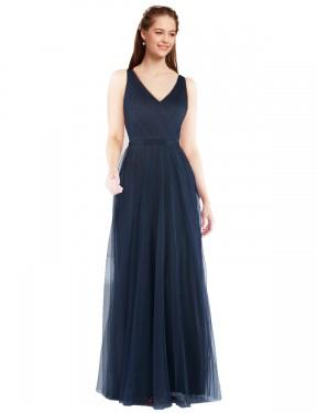 Sheath V-Neck Floor Length Long Dark Navy Tulle Renee Bridesmaid Dress for Sale