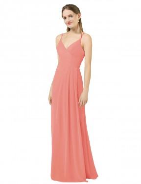 Sheath V-Neck Floor Length Long Desert Rose Chiffon Tegan Bridesmaid Dress for Sale