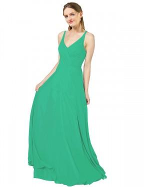 Sheath V-Neck Floor Length Long Emerald Green Chiffon Aranza Bridesmaid Dress for Sale