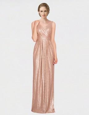 Sheath V-Neck Floor Length Long Rose Gold Sequin Ayleen Bridesmaid Dress for Sale