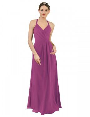 Sheath V-Neck Floor Length Long Wild Berry Chiffon Saoirse Bridesmaid Dress for Sale