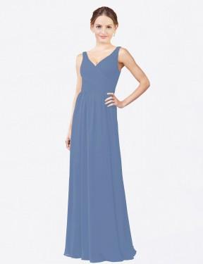 Sheath V-Neck Floor Length Long Windsor Blue Chiffon Charley Bridesmaid Dress for Sale