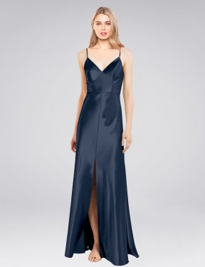 Sheath V-Neck Spaghetti Straps Floor Length Long Dark Navy Stretch Satin Cole Bridesmaid Dress for Sale