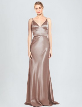 Sheath V-Neck Spaghetti Straps Floor Length Long Dusty Pink Stretch Satin Chambers Bridesmaid Dress for Sale