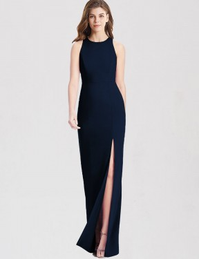 Trumpet Bateau Floor Length Long Dark Navy Stretch Crepe Nathalia Bridesmaid Dress for Sale