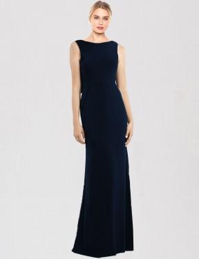 Trumpet Bateau Floor Length Long Dark Navy Stretch Crepe Tara Bridesmaid Dress for Sale