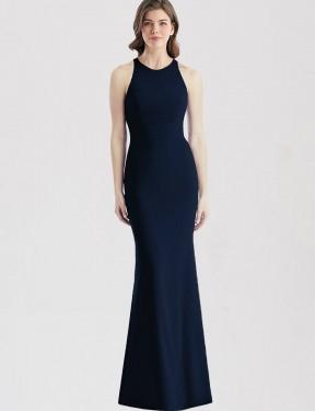Trumpet Bateau Floor Length Long Dark Navy Stretch Crepe Zendaya Bridesmaid Dress for Sale