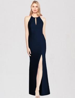 Trumpet Halter Floor Length Long Dark Navy Stretch Crepe Brenna Bridesmaid Dress for Sale