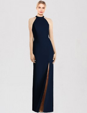 Trumpet Halter Floor Length Long Dark Navy Stretch Crepe Florence Bridesmaid Dress for Sale