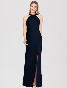 Trumpet High-Neck Halter Floor Length Long Dark Navy Stretch Crepe Alisa Bridesmaid Dress for Sale