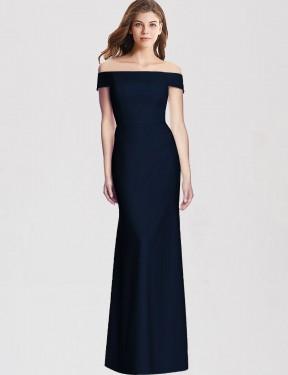 Trumpet Off-the-Shoulder Floor Length Long Dark Navy Stretch Crepe Samira Bridesmaid Dress for Sale