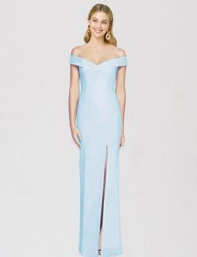 Trumpet Off-the-Shoulder Floor Length Long Light Sky Blue Stretch Crepe Saanvi Bridesmaid Dress for Sale