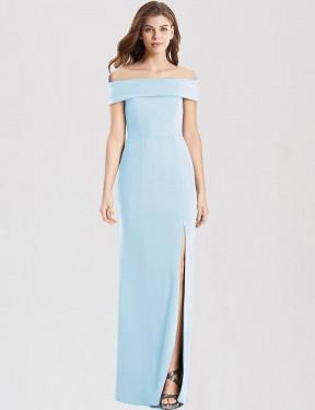Trumpet Off-the-Shoulder Floor Length Long Light Sky Blue Stretch Crepe Yamileth Bridesmaid Dress for Sale