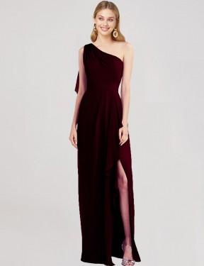 Trumpet One-Shoulder Floor Length Long Burgundy Gold Chiffon Yesika Bridesmaid Dress for Sale