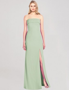 Trumpet Strapless Floor Length Long Sage Chiffon Kennedie Bridesmaid Dress for Sale