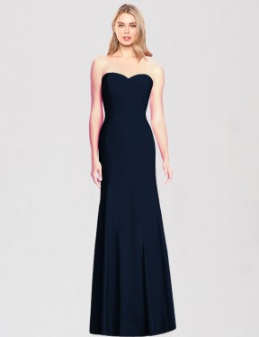 Trumpet Strapless Sweetheart Floor Length Long Dark Navy Stretch Crepe Alora Bridesmaid Dress