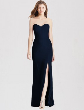 Trumpet Strapless Sweetheart Floor Length Long Dark Navy Stretch Crepe Micah Bridesmaid Dress for Sale