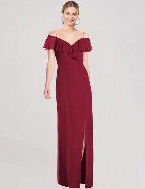 Trumpet Sweetheart Spaghetti Straps Floor Length Long Burgundy Chiffon Caelie Bridesmaid Dress for Sale
