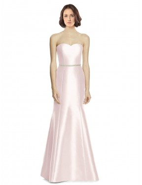 Trumpet Sweetheart Strapless Floor Length Long Pink Satin Arianna Bridesmaid Dress for Sale