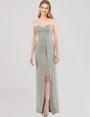 Trumpet Sweetheart Strapless Floor Length Long Silver Chiffon Astride Bridesmaid Dress for Sale