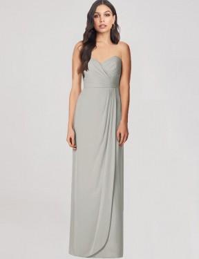 Trumpet Sweetheart Strapless Floor Length Long Silver Chiffon Hidalia Bridesmaid Dress for Sale