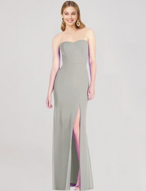 Trumpet Sweetheart Strapless Floor Length Long Silver Chiffon Isabel Bridesmaid Dress for Sale