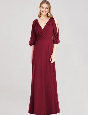 Trumpet V-Neck Floor Length Long Burgundy Chiffon Kassidee Bridesmaid Dress for Sale