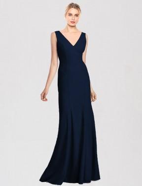 Trumpet V-Neck Floor Length Long Dark Navy Stretch Crepe Riya Bridesmaid Dress for Sale