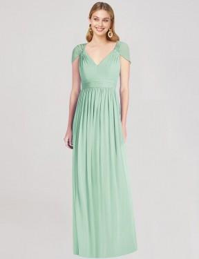 Trumpet V-Neck Floor Length Long Mint Green Chiffon Dinela Bridesmaid Dress for Sale