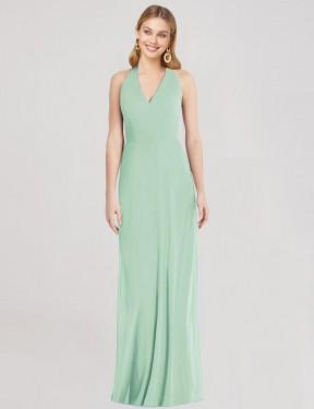 Trumpet V-Neck Halter Floor Length Long Mint Green Chiffon Marcos Bridesmaid Dress