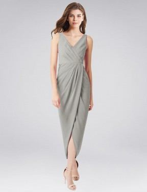 Trumpet V-Neck High Low Long Silver Chiffon Scholz Bridesmaid Dress for Sale