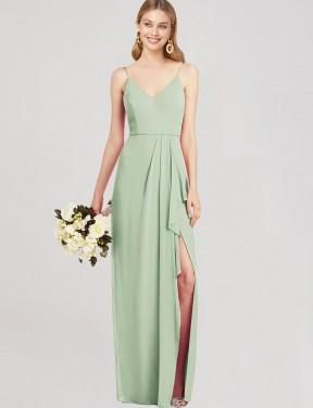 Trumpet V-Neck Spaghetti Straps Floor Length Long Sage Chiffon Hailley Bridesmaid Dress for Sale