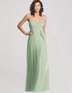 Trumpet V-Neck Spaghetti Straps Floor Length Long Sage Chiffon Trina Bridesmaid Dress