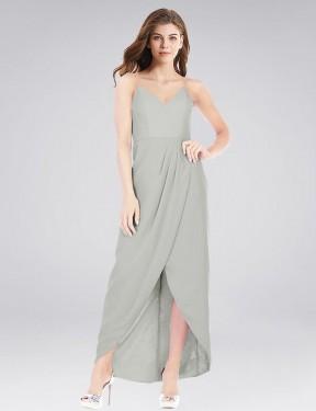 Trumpet V-Neck Spaghetti Straps High Low Long Silver Chiffon Morris Bridesmaid Dress for Sale